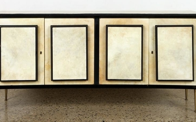 PARCHMENT COVERED CONCAVE SIDEBOARD C.1950