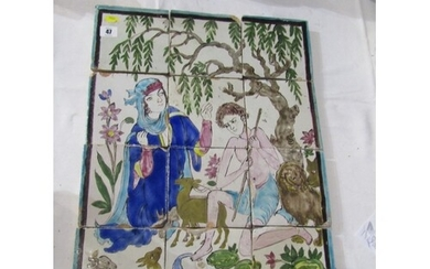 """PERSIAN TILE PICTURE, 12 sectional tiles depicting """"Legend o..."""