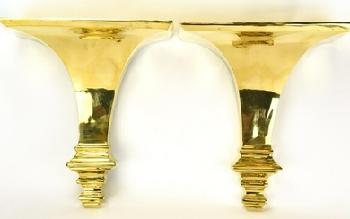 Pair Heavy Brass Traditional Style Wall Brackets