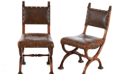 Pair Renaissance Revival leather-upholstered walnut side chairs (2pcs)