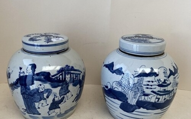 Pair blue and white Chinese Ginger jars and covers CONDITION...