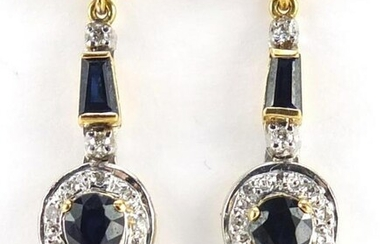 Pair of 18ct gold diamond and sapphire drop earrings