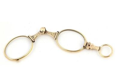 Pair of 19th century gold coloured metal folding spectacles,...