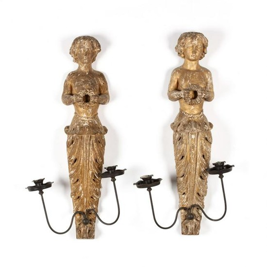 Pair of Antique Figural Carved Wood Sconces