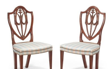 Pair of Federal carved mahogany shield-back side chairs Massachusetts,...