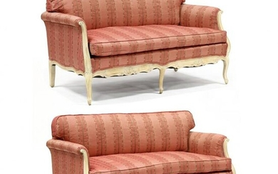 Pair of French Provincial Style Upholstered Fruitwood