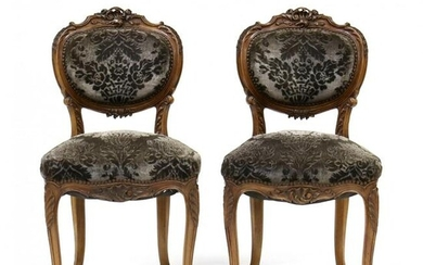 Pair of French Rococo Style Carved Walnut Side Chairs