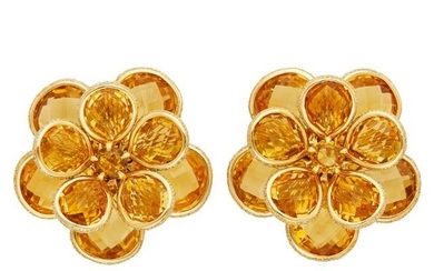 Pair of Gold, Citrine and Diamond Flower Earrings