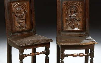 Pair of Louis XIII Style Carved Oak Side Chairs