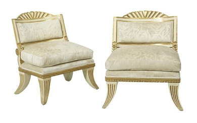Pair of Neoclassical-Style Parcel-Gilt Chairs