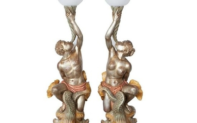 Pair of Parcel-Gilt Blackamoor Candelabras