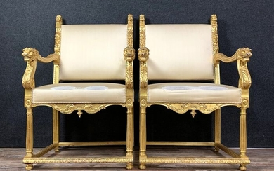 Pair of Renaissance armchairs in gilded wood - Gilt, Wood - Mid 19th century