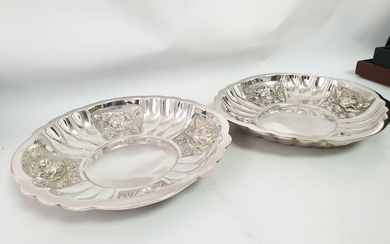 Pair of bowl silver 27x4cm (2) - .833 silver - Europe - Mid 20th century