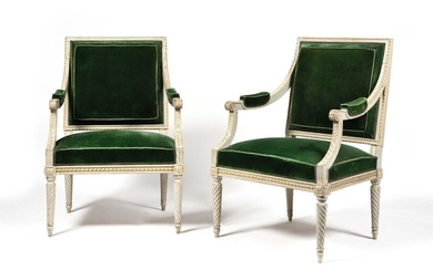 Pair of painted and gilded beechwood armchairs with rectangular back, with a frieze of ribboned rush and piastres, resting on spiral fluted legs. Louis XVI period. H: 95 cm, W: 63 cm