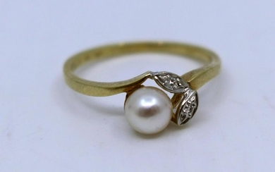 Pearl & Diamond Floral 14ct. Yellow Gold Ring