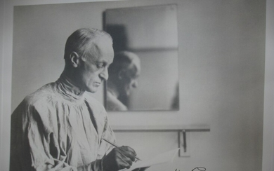"Photograph of Harvey Cushing (""The Sketch""), image size 9 1/2"" x 7 1/2"", [1928], by Walter W. Boyd. SIGNED BY HARVEY CUSHING."