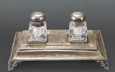 Portuguese silver writing desk with double inkwell in...