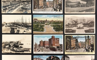 Postcard China 1930-1940s A group of 12 postcards for the streets and people's livelihood of Da...