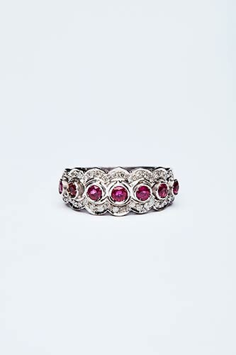 RING WITH RUBIES AND DIAMONDS Handcrafted ring made in Italy...