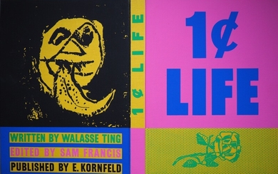 "Roy Lichtenstein, Walasse Ting: Cover for ""1 Cent Life"". 1964. Silkprint on canvas on cardboard. 41×63.5 cm."