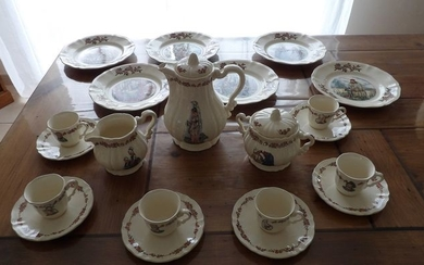 "SARREGUEMINES - Dessert and Coffee Service ""Ma Normandie"" (21) - Earthenware"