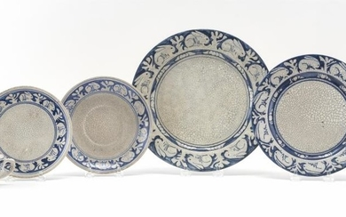 """SIX DEDHAM POTTERY RABBIT PATTERN TABLEWARES Two plates, diameters 8"""" and 10.25"""", a cup and saucer, and a handled soup bowl with und..."""