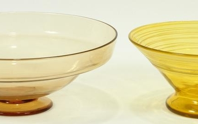 STEUBEN BLOWN GLASS BOWL + OTHER, 2 PCS