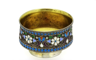 Salt cellar, Small salt cellar (1) - .875 (84 Zolotniki) silver, Cloisonné enamel - СМШ - Russia - Late 19th century