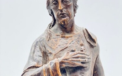 Sculpture, Christ on the Orb - 45 cm - Baroque style - Chestnut wood - Second half 19th century