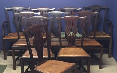 Set of 10 (8 & 2) Chippendale style mahogany dining chairs w...