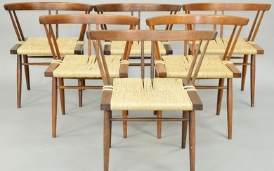 Set of Six George Nakashima Chairs, cherry with woven