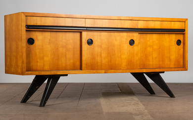 Sideboard, wooden veneer, France, 1940s