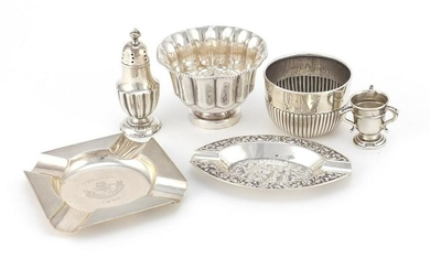 Silver items including two circular bowls, a miniature