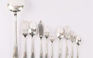 Silver-plated metal cutlery set, the handle decorated with...