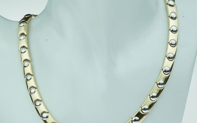 Slotcollier - 14 kt. White gold, Yellow gold - Necklace - Sapphire