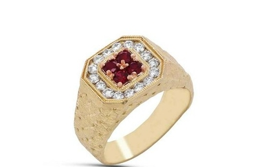 Stambolian Yellow Gold and Diamond Mens Ring with