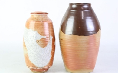 Studio Pottery Vase with Crackle Glaze Finishes (H23cm, impressed RF, Robert Forster) together with a Brown Drip Glaze Example (H26c...