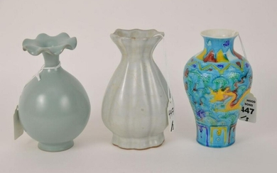 THREE CHINESE GLAZED POTTERY BUD VASES - Includes: (1)