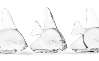 THREE GLASS FISH, BY STEUBEN, CIRCA 1935