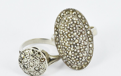 TWO MARCASITE AND SILVER RINGS