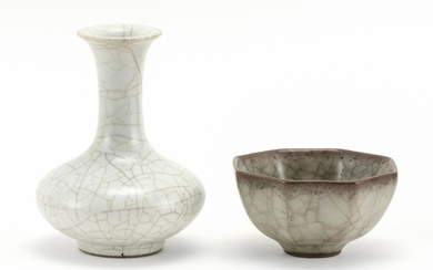 """TWO MINIATURE PIECES OF CHINESE CRACKLEWARE 1) White vase. Height 4.5"""". Ex-collection: Brissett Antiques, Philadelphia. 2) Octagonal..."""