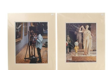 TWO PRINTS OF PAINTINGS BY JON SMITH, MUSEUM SCENES