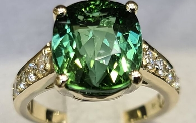 Top Quality 7.14ct Tourmaline and Diamonds Ring - 14 kt. Yellow gold - Ring Tourmaline - Diamonds, NO RESERVE