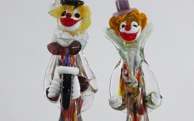 Two [2] Colorful Murano Art Glass Clown Figures