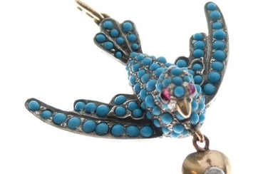 Unmarked yellow metal and white metal, turquoise and diamond-set...