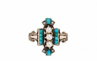 Victorian Gold, Turquoise, and Pearl Ring