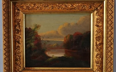Victorian oil on canvas of lake scene