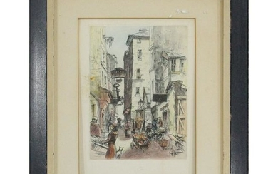Vintage Color Lithograph European Town Life, with Seal