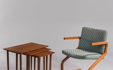 Westnofa Armchair and Three Nesting Tables, mid-20th century, upholstered laminated bentwood chair labeled on the underside of the rail