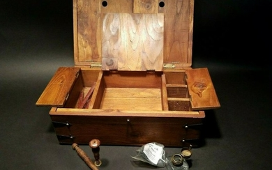 Wood Writing Box Set w Inkwell, Ink, Wax Stamp, & Dip